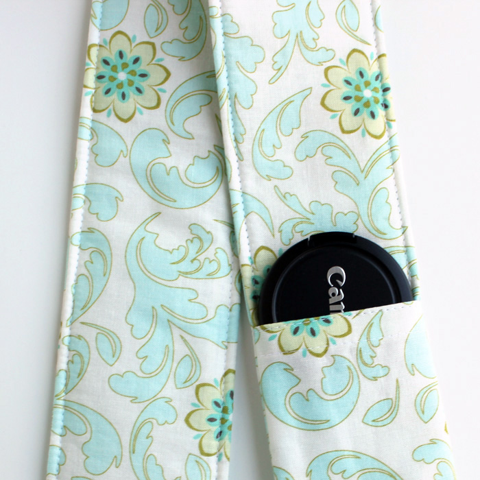 DSLR Camera Strap Cover - Padding and Lens Cap Pocket - Blue Cream Floral Damask