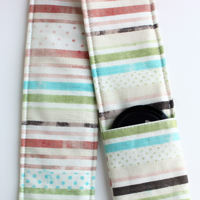 DSLR Camera Strap Cover - Padding and Lens Cap Pocket Included - Striped Polka Dots Faded