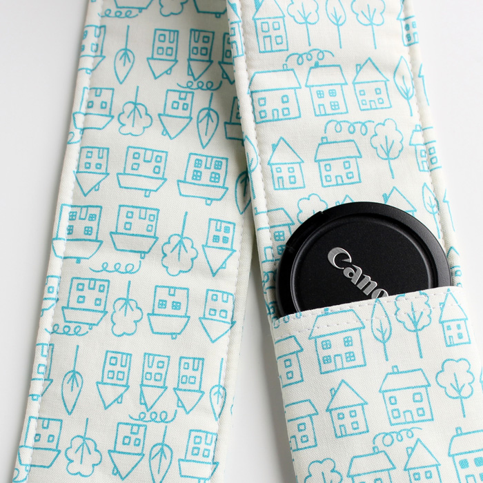 DSLR Camera Strap Cover - Padding and Lens Cap Pocket - Houses Blue Doodle